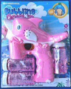 Kids Dolphin Fish Soap Water Bubble Bubbling Gun Maker Machine Sound Light Toy