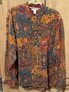 Vintage Men's Liz Claiborne Silk Button Front Long Sleeve Print Shirt Large