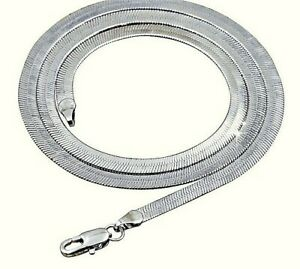 925 Sterling Silver Solid Italian Flat Snake Link Chain Necklace Lobster Clasp