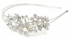 Adjustable Elastic Silver Wedding Rhinestone Flower Metal Headband Head Jewelry