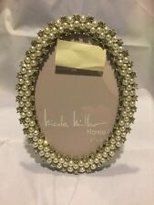 "Nicole Miller Home 4x6 4"" X 6"" Oval Pearl Jewel Crystal Picture Frame New Bridal"