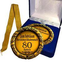 Medaille Geschenk zum Jubiläum 80 Jahre Geburtstag Glückwünsche / Ihr Wunschtext