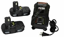 Ryobi P118 18V Battery Charger and 2 Pack P102 Batteries New replace P100 P113
