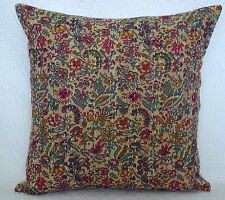 "16"" INDIAN KANTHA CUSHION COVER FLORAL PRINTED THROW COTTON SOFA DECOR PILLOW"