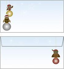 50 Briefumschläge Motiv Eulen auf Weihnachts-Kugeln DL oF Christbaum owl Eule