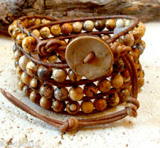 Picture Jasper Gemstone Handmade Beaded Leather Wrap Bracelet