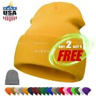 Beanie Plain Knit Hat Winter Solid Cuff Cap Slouchy Skull Ski Warm Men Woman