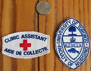 Vintage 1980s Nursing Patch University Of Toronto Clinic Assistant Red Cross LOT