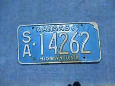VINTAGE ORIGINAL 1967 KANSAS LICENSE TAG SA 14262 PLATE WALL HANGER  MAN CAVE