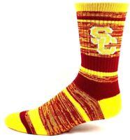 USC Trojans NCAA Red Gold Stripe 504 Quad Blend Crew Socks