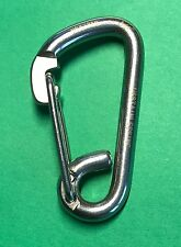 "Stainless Steel 316 Spring Hook Carabiner 1/4"" (6mm) Marine Grade Safety Clip"