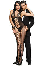 Plus Size Black Lace Up Sheer Bodystocking Erotic Lingerie Sexy Fishnet 12 14 16