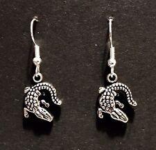Silver coloured Dangle Earrings, Alligator, Crocodile, Reptile