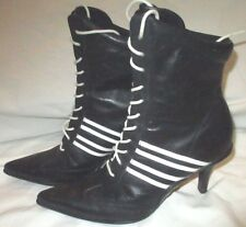 NINE WEST Black Stiletto Heel Lace-Up Leather Ankle Boots Size 6M Steampunk Goth