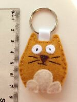 Cute 'GINGER THE CAT' !! Keyring or Bag Tag In Light Brown