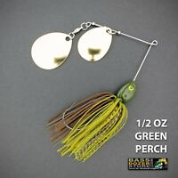 Bassdozer spinnerbaits DOUBLE THUMPER 1/2 oz GREEN PERCH spinner bait