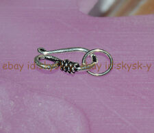 Sterlingg Silver Hook Bead Clasp Connector For Necklace Bracelet Jewelry Making