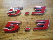 5.3  5.3L ENGINE ID FENDER HOOD SCOOP QUARTER TRUNK EMBLEMS - RED FORD GM MOPAR