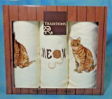 Traditions Three Fingertip Cat Tabbie Kitten Embroidered Towels