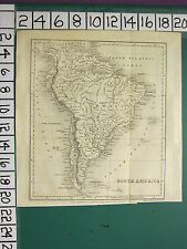 c1830 ANTIQUE MAP ~ SOUTH AMERICA ~ BRASIL BRAZIL PERU COLOMBIA CHILI FALKLAND