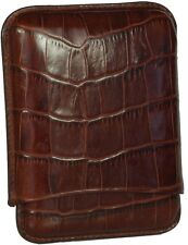 MARTIN WESS BROWN CROCO COWHIDE/ GOATSKIN LEATHER CIGARILLO CASE ** NEW **