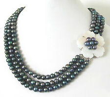 3 Rows 7-8mm Genuine Black Pearl White Shell Flower WGP Clasp Necklace