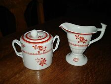 Spode GLOUCESTER RED Creamer & Sugar Bowl New Stone PERFECT!