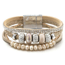 Trendy Women Bohemian Multilayer Leather Ceramic Rhinestone Beads Charm Bracelet
