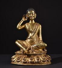 Milarepa. Seltene, vergoldete Bronze Figur. Gilt statue. (Buddha Tibet Asiatika)
