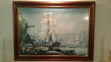Beautiful Sailing Ships, Busy Portside Scene, in Perfect Frame with Gold Edging