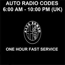Alfa Romeo Radio Code Stereo PIN Unlock Service All Models - Fast Service