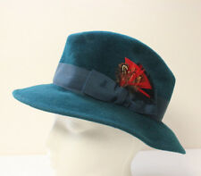 Vintage Teal Green Women's Fedora Hat Red Feather