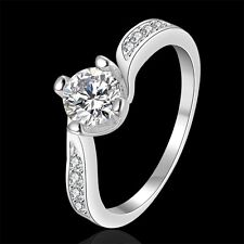 Classic 18k 18ct White Gold Filled CZ Woman Wedding Ring Size7  R-A333