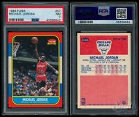 1986 FLEER BASKETBALL MICHAEL JORDAN PSA-7 NM RC ROOKIE #57 CHICAGO BULLS