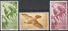 Colonias españolas Guinea 1957 Native bienestar aves loros estampillada sin montar o nunca montada Fina 365 - 367