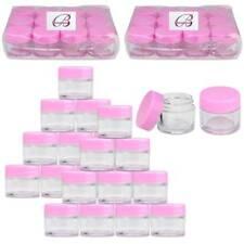 Beauticom® (24 Pcs) 7G/7Ml Clear Plastic Refillable Jars with Pink Lids