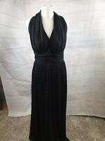 Vintage California Black Striped Halter Neck Sleeveless Party Maxi Dress Size 16
