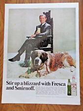 1969 Smirnoff Vodka Brunch Ad John Carson Nbc Tonight Show & St Bernard Dog