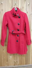 Giacca Womens Size M Red Wool Dress COAT, Belted, Black Buttons, Good Condition
