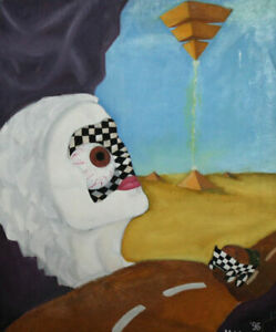 1996 Surrealist oil painting signed