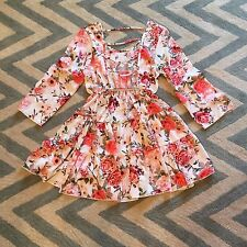 L New Bohemian Floral Watercolor Bright Casual Beach Summer Party Dress - Large