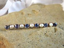 & Pearl Lapel Bar Pin #722 Vintage Estate 10K Solid Gold Blue Sapphire