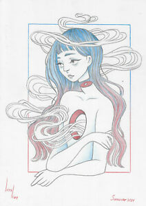 original drawing A4 419KV art samovar Colored Pencil woman sketch Signed 2021