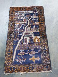 5x3 Ft Handmade Afghan War Art Vintage Wool rug low pile and uneven