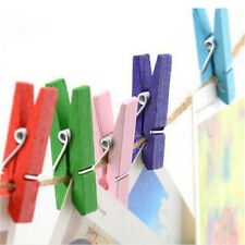 50pcs Mini Natural Wooden Clothes Photo Paper Peg Clothespin Craft Clips LWY