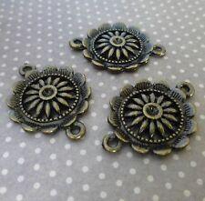 Paquete De 10 Conectores de Flor De Bronce Antiguo vínculos de fabricación de joyas