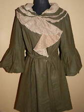 Women's Junior's RYU Olive & Beige Ruffle Wool Blend Angel Sleeve COAT NWT LARGE