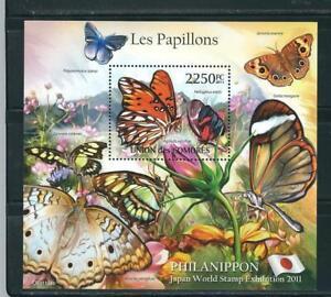 Comoros 2011 Philanippon , Butterflies, Souvenir Sheet . MNH