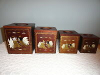 Vintage Wooden Nesting Canister Set 4 Sizes  Fighting Roosters Dovetail Corners