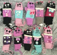 Cutest girls cat mittens gloves mitts, colourful One size Suit age 6 7 8 9 10